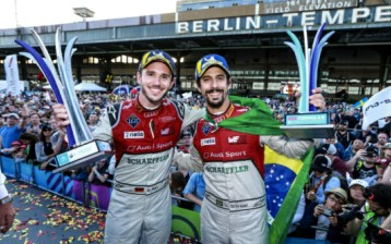 One-two finish for Audi Sport ABT Schaeffler - Daniel abt (left) wins Berlin ePrix, Lucas di Grassi second.