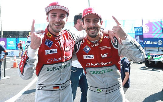 Daniel Abt (left) sets fastest race lap on the way to finishing third on the podium in New York, Lucas di Grassi takes second in season finale and is Formula E championship runner-up