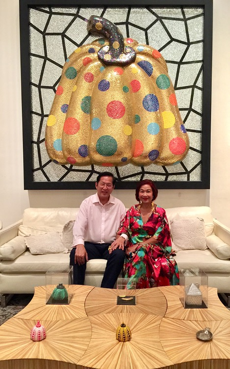 Kim and Lito Camacho in front of Kusama painting